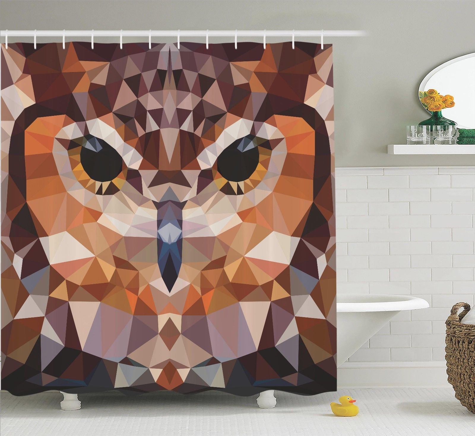 Geometric Decor Shower Curtain Set, Mosaic Owl Head In Linked Triangle Forms Retro Style Funky Geometric Art Boho Decor, Bathroom Accessories, 69W X 70L Inches, By Ambesonne