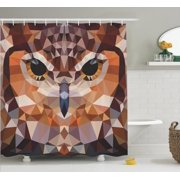 Geometric Decor Shower Curtain Set Mosaic Owl Head In Linked Triangle Forms Retro Style Funky
