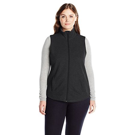 Just My Size Women's Plus Sizemock Neck Full-Zip Vest Size, Ebony, 3X