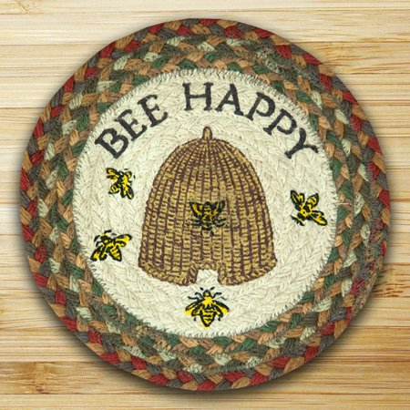 """BEE HAPPY 100% Natural Braided Jute Swatch, 10"""" Trivet/Placemat, by Earth Rugs"""