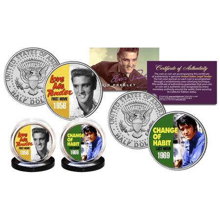 ELVIS PRESLEY First/Last Movies JFK Half Dollar 2-Coin Set OFFICIALLY LICENSED