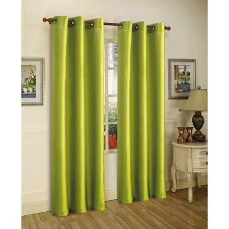 1 PANEL Nancy  SOLID LIME GREEN SEMI SHEER WINDOW FAUX SILK ANTIQUE BRONZE GROMMETS CURTAIN DRAPES 55 WIDE X 63