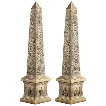 Design Toscano Golden Obelisk of Ancient Egypt Statue: Set of Two - Statue Of Gold