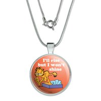 "Garfield I'll Rise but I won't Shine 1"" Pendant with Sterling Silver Plated Chain"
