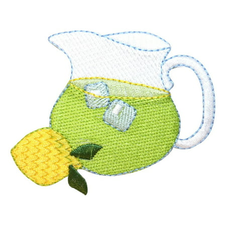 ID 1945 Glass Pitcher Lemonade Patch Summer Drink Beverage Iron On Applique