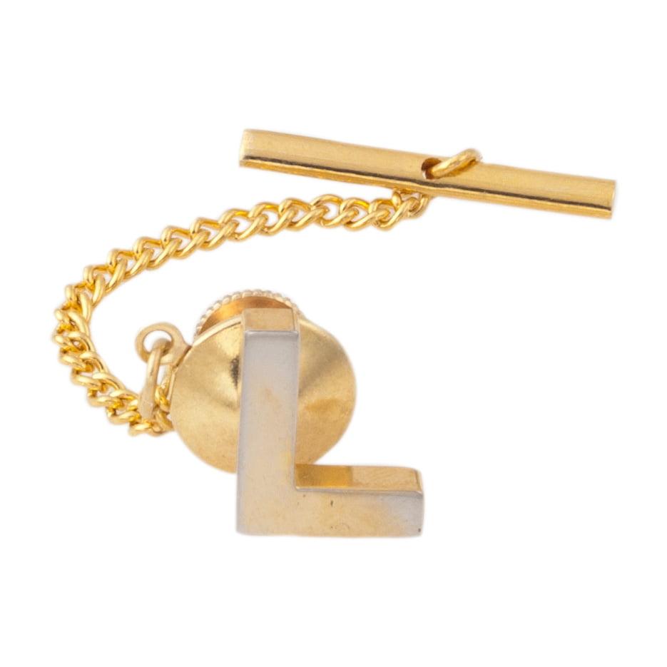 Letter L on Fleur De Lis Pattern Mens Tie Clip Tack Bar