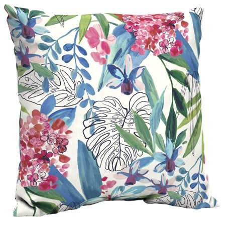 Better Homes & Gardens (933) Painterly Tropical 21 x 21 in. Outdoor Dining Pillow Back Cushion with EnviroGuard