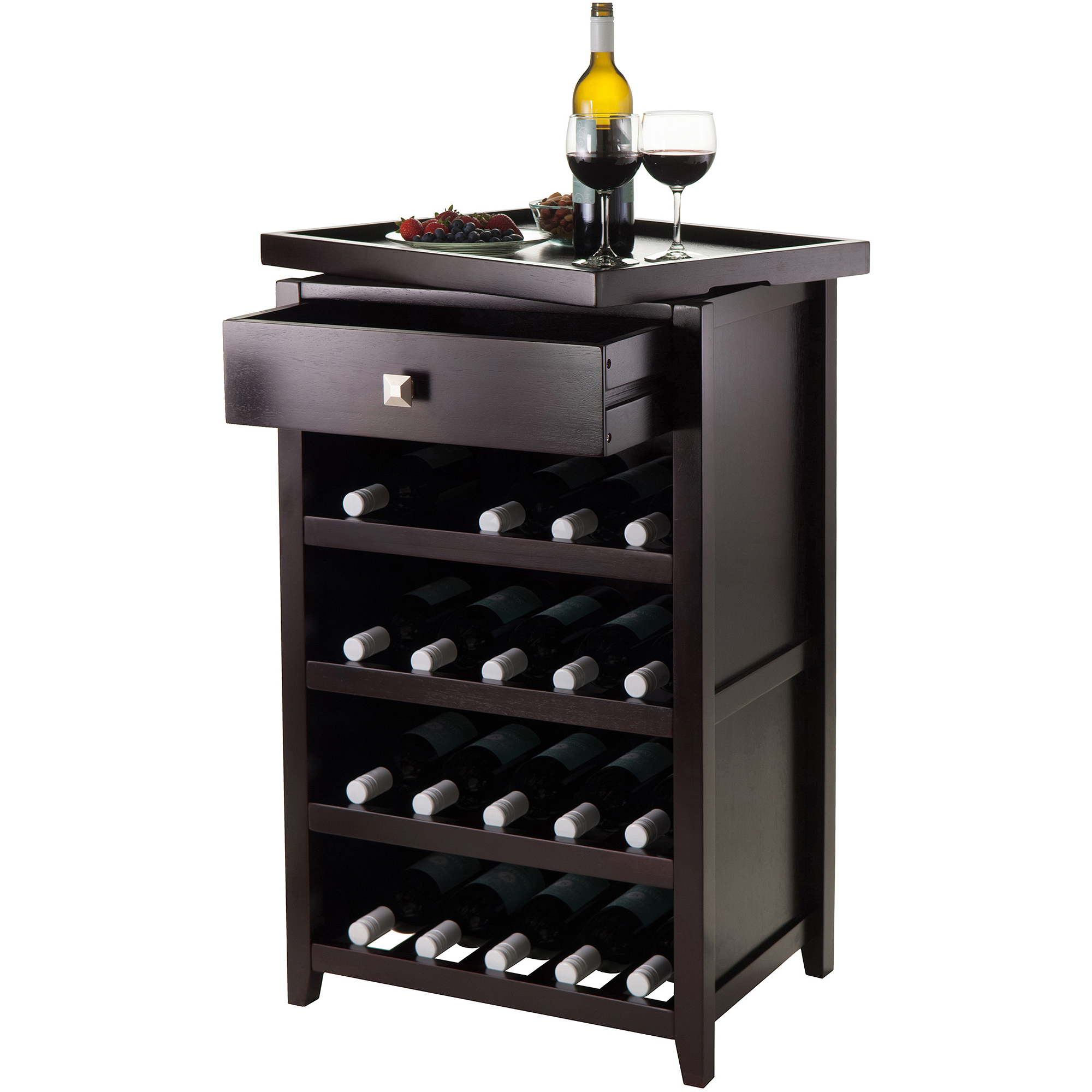 Winsome Wood Zillah Wine Cabinet with Removable Tray, Espresso