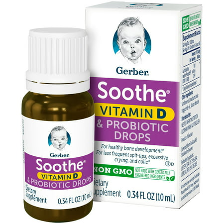 - Gerber Soothe Probiotic Colic Drops with Vitamin D, 0.34 fl. oz