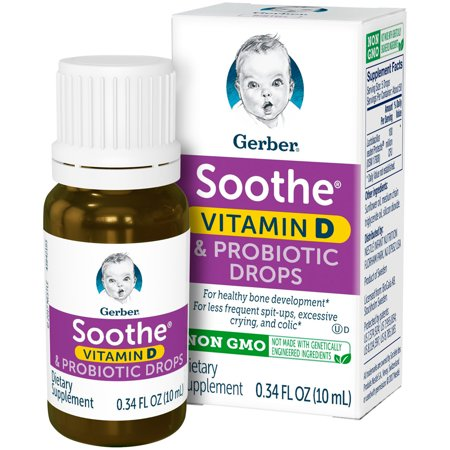 Gerber Soothe Probiotic Colic Drops with Vitamin D, 0.34 fl. oz