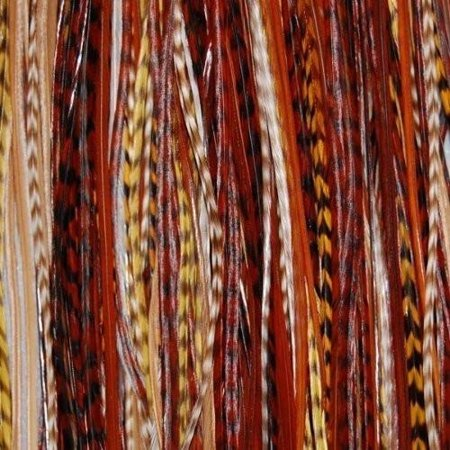 5 Feathers Hair Extension Earth Tone Remix 6-12 Feathers for Hair Extension Includes 2 Silicone Micro Beads and (5