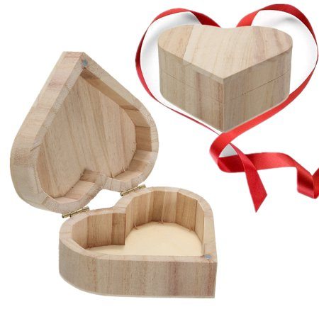 Heart Shape DIY Wood Jewelry Box with Magnetic Lid Ring Earrings Case Gift Unfinished Unpainted Plain Ready to Paint