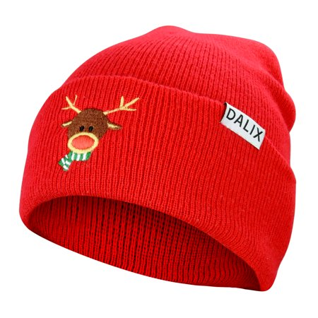 0405c3d20 DALIX Rudolph Beanie Christmas Holiday Winter Stocking Hat in Red