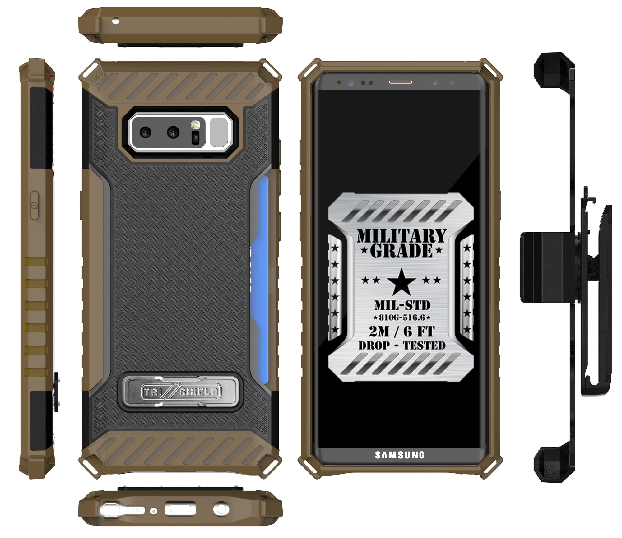 pretty nice d3279 e6fef Note 8 Clip Case, Tri-Shield Rugged Case Cover [with Belt Hip Holster +  Magnetic Kickstand and Credit Card Slot] for Samsung Galaxy Note 8, SM-N950  ...