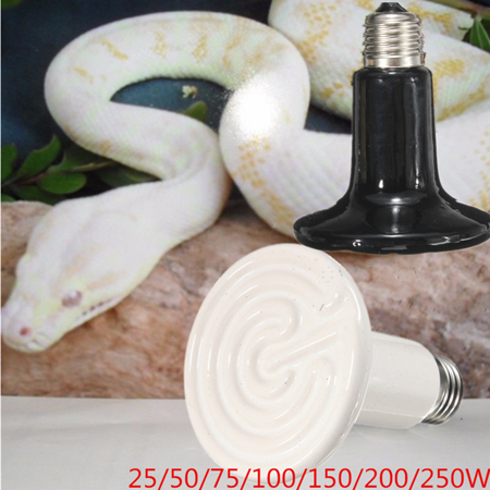 Reptile Ceramic Heat Emitter - 20-250W Infrared Ceramic Emitter Heat Lamp for Reptile Pet Brooder 110V 90mm Light Bulb Black