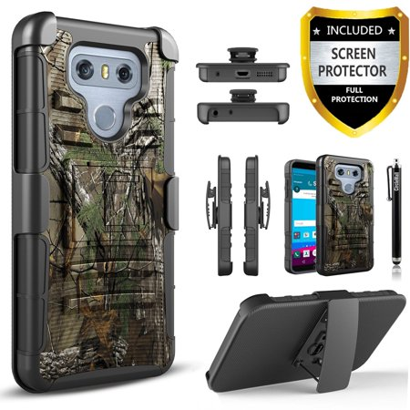 LG G3 Case, Dual Layers [Combo Holster] Case And Built-In Kickstand Bundled with [Premium Screen Protector] Hybird Shockproof And Circlemalls Stylus Pen (Camo) ()