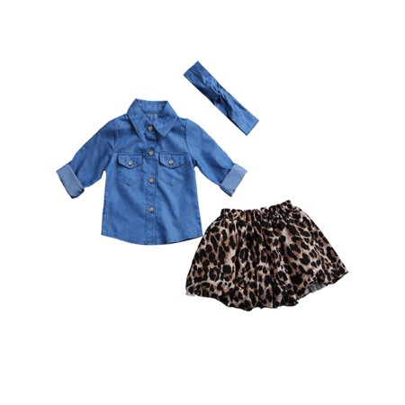 Spiderman Outfit 2 3 Years (StylesILove Sweet Little Girl Denim Shirt and Leopard Skirt with Headband 3 pcs Outfit (90/1-2)