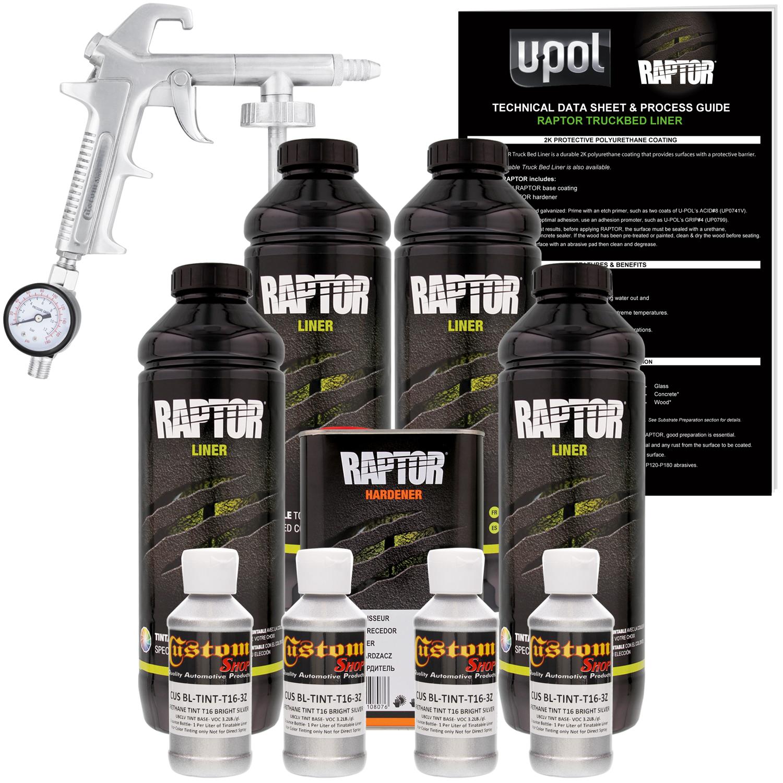 U-POL Raptor Bright Silver Urethane Spray-On Truck Bed Liner Kit w/ FREE Custom Coat Spray Gun with Regulator, 4 Liters