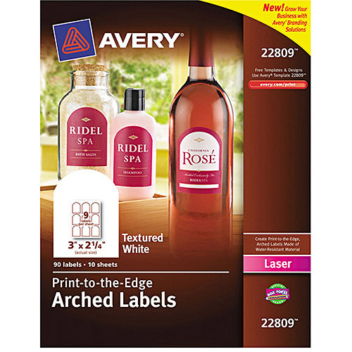 """Avery 22809 Print-to-the-Edge Textured White Arched Labels for Laser Printers , 3"""" x 2-1/4"""", 90 Labels/Pack"""