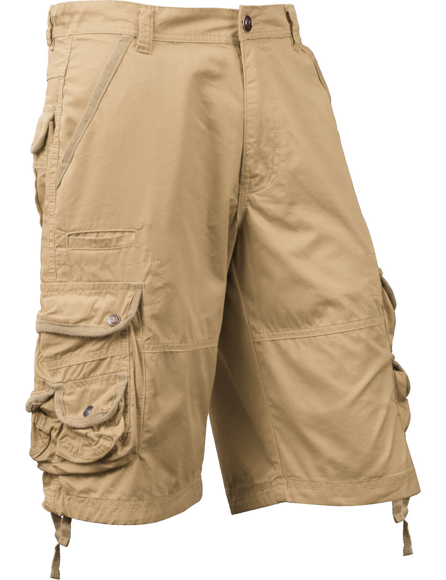 Mens Premium Cargo Shorts Loose Fit Twill Cotton Pants Multi Pocket Outdoor Wear Utility