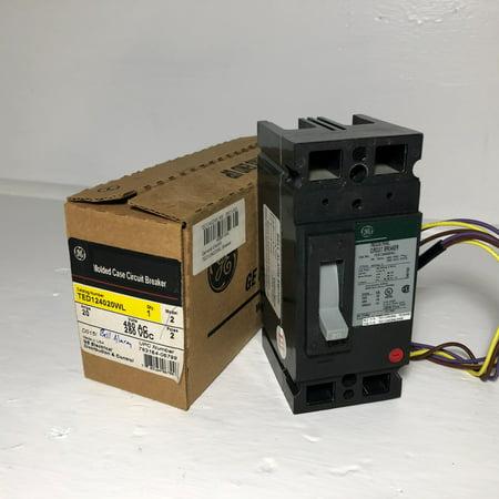 NEW GE TED124020WL 20A Circuit Breaker Bell Alarm 2P 20 Amp General Electric NIB