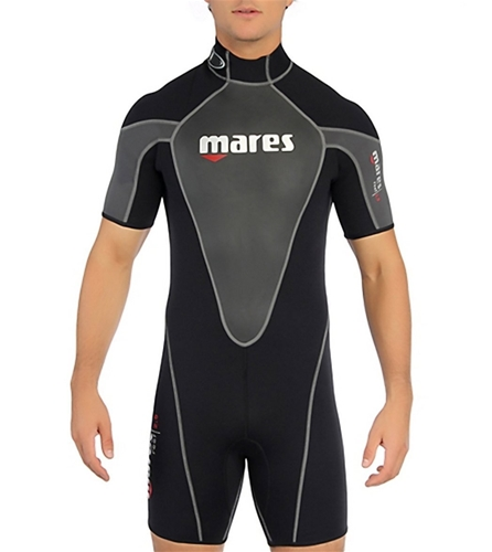 Mares Mens Reef 2.5mm Shorty Wetsuit (Black / Silver, 2X-Large)