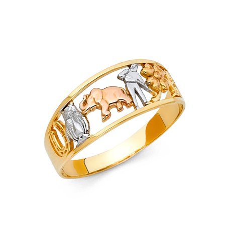 Lucky Charms All-in-One Good Luck Symbols 8mm Band 14k Tri Colored Tone Gold Ring Size 7 Available All Sizes