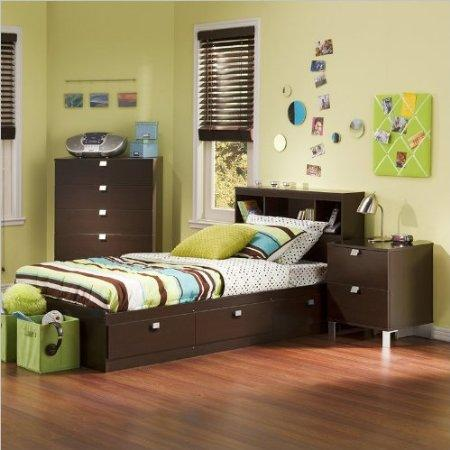Kids Twin 3 Piece Bedroom Set with Bookcase Headboard in Chocolate by South Shore