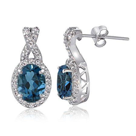 London Blue Topaz Drop (Sterling Silver 4ct London Blue & White Topaz X and Oval Drop Earrings )