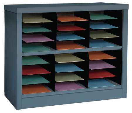 GRAINGER APPROVED Horizontal Literature Organizer 24 Compartments, Gray, 5CRY0 by VALUE BRAND