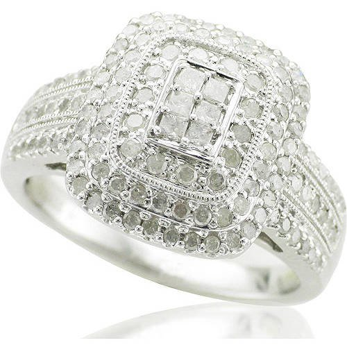 1 Carat T.W. Princess- and Round-Cut Diamond Ring in Sterling Silver