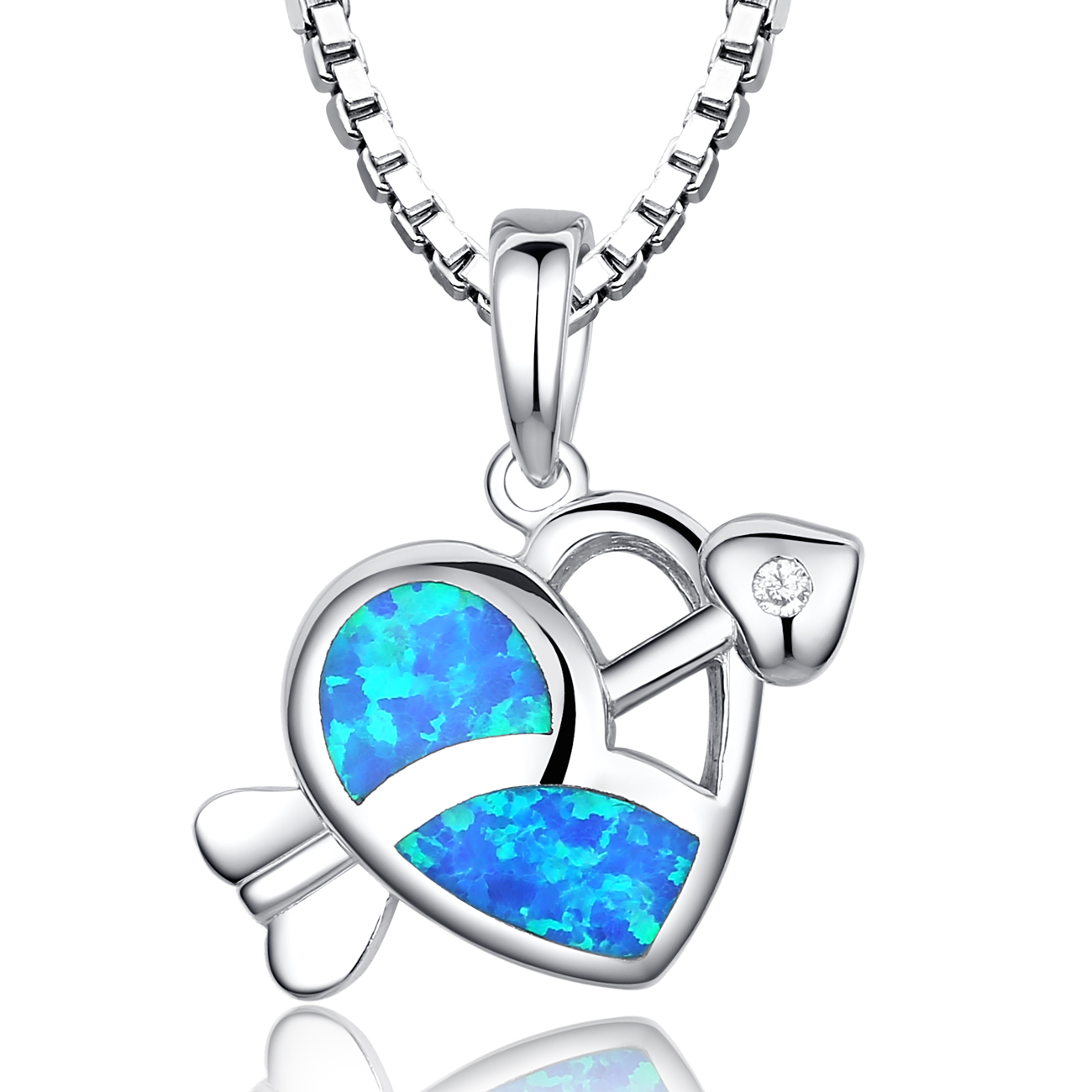 Sterling Silver Cupid's Arrow Heart W. Blue and Green Fire Opal Women's Pendant Necklace Come with 18 Inch 1mm Rhodium... by