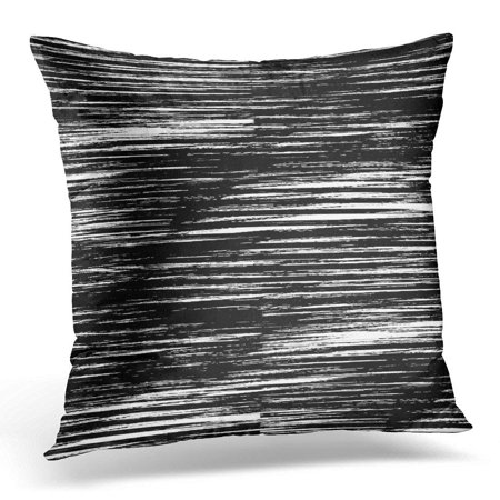 ARHOME Digital Vertical Grunge Black and White Abstract Line Curve Effect Pillow Case Cushion Cover 16x16 (Black With White Lines Vertical Not Touching)