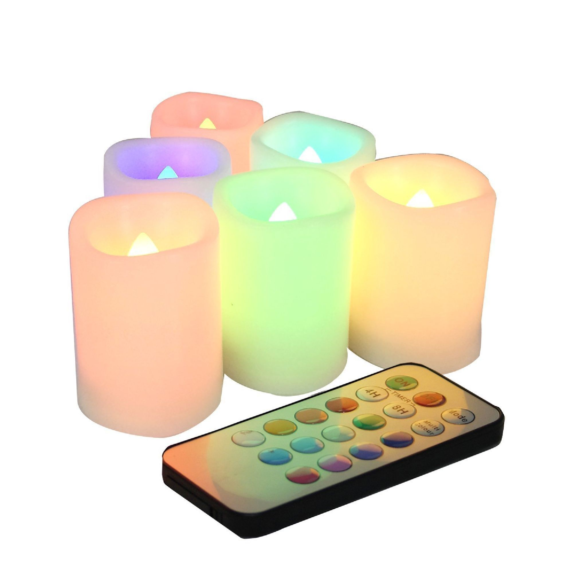 Candle Choice Set of 6 Color Changing Indoor / Outdoor Flameless Votive Candles with Remote and Time, Battery Operated, Batteries Included, 12 colors
