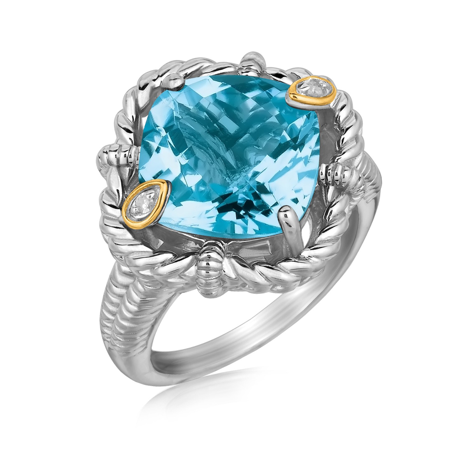 18K Yellow Gold and Sterling Silver Ring with Cushion Blue Topaz and Diamonds Size 8 by Mia Diamonds