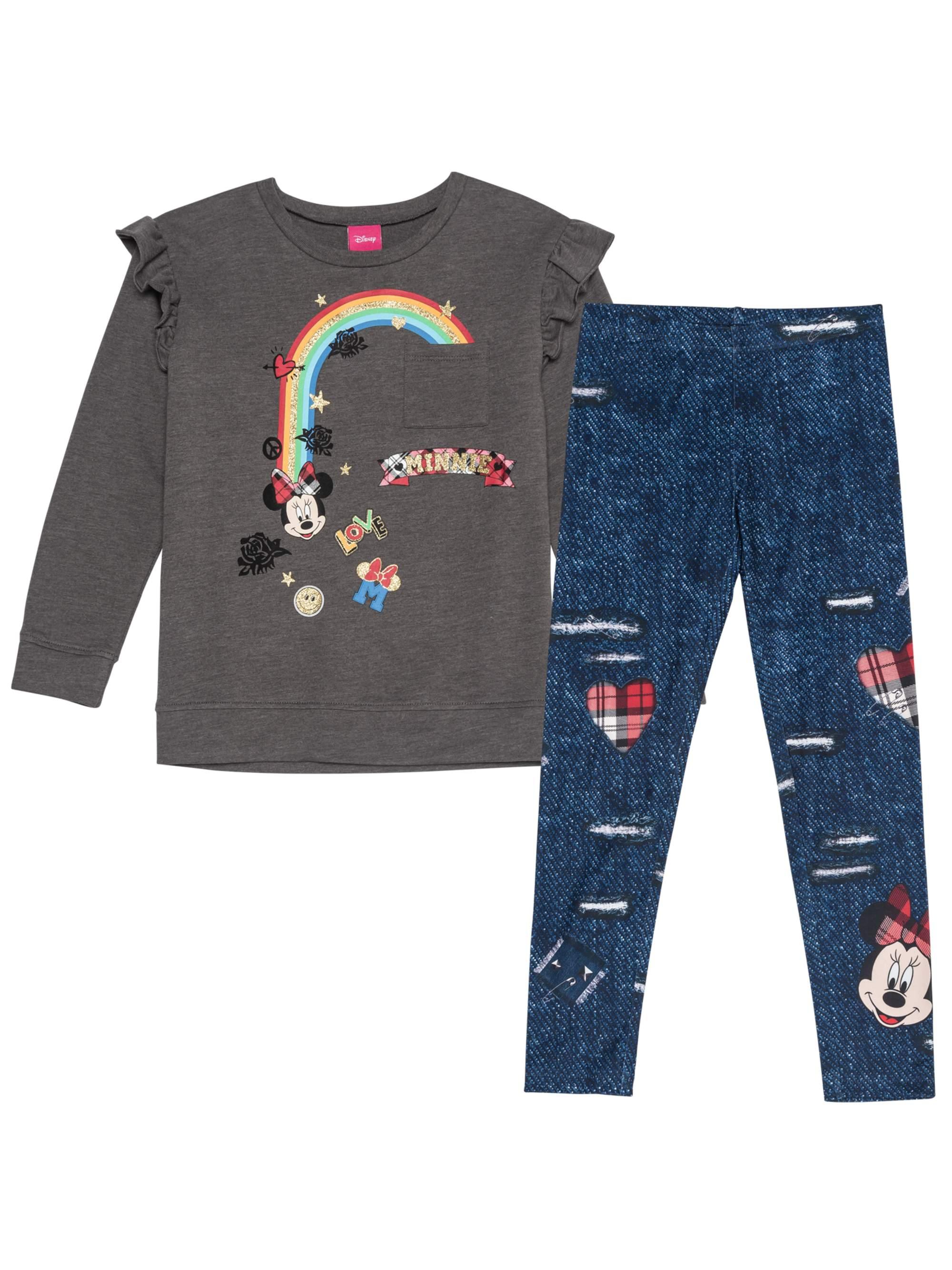 Rainbow Ruffle Sleeve Top and Legging, 2-Piece Outfit Set (Little Girls & Big Girls)