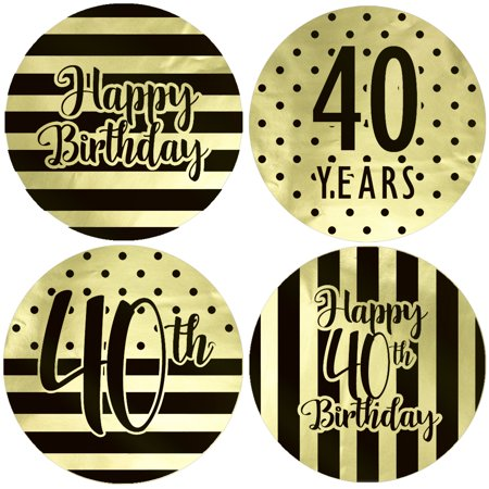 Gold Foil 40th Birthday Favor Labels 40ct - Black and Gold Stripe and Polka Dot Birthday Party Supplies - 40 Count Stickers (1 3/4 inch) - 40th Birthday Party Ideas For Wife
