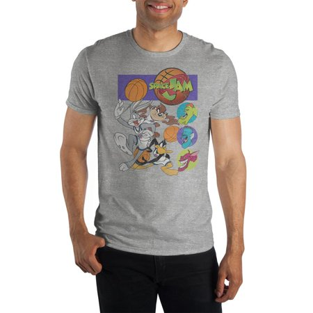 Space Jam Short Sleeve Te-X-Large It's the cartoon character basketball game of the century and is the perfect inspiration for this Space Jam Cartoon Movie Mens Graphic Tee! The Space Jam Movie Mens Clothing is a grey mens short sleeve shirt made of 100% pre-shrunk cotton jersey material that looks and feels great! The Mens Space Jam Cartoon Short Sleeve Shirt features a bright, bold, soft hand print graphic across the front of the tee. The Space Jam Movie Mens Fan Apparel is available in mens sizes S - 3XL and is the perfect mens clothing to gift to any guy!