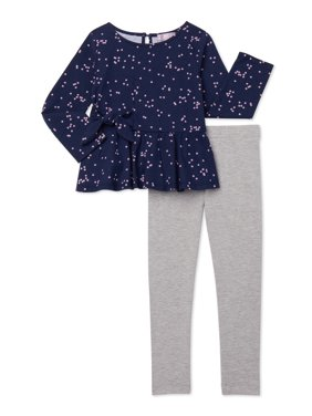 Mila & Emma Exclusive Girls Bow Waist Top and Legging, 2-Piece Outfit Set, Sizes 4-18