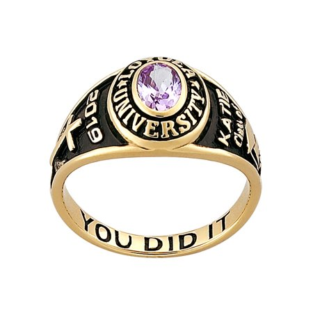 Personalized Women's Classic 14kt Gold Plated Sterling Silver Petite Oval Birthstone Class (Gold Class Ring)