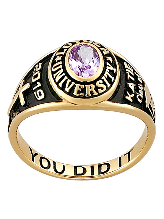 Personalized Women's Classic 14kt Gold Plated Sterling Silver Petite Oval Birthstone Class Ring