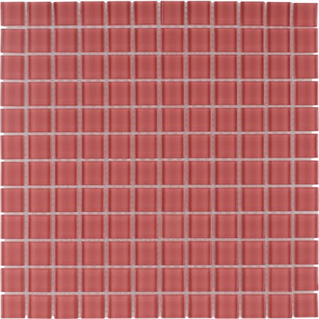 MTO0369 Modern 1X1 Stacked Squares Red Blend Glossy Glass Mosaic Tile 0.875' Glass Mosaic Tile
