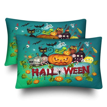 GCKG Cute Halloween Pumpkin Cat Owl Skull Pillow Cases Pillowcase 20x30 inches Set of 2 - image 1 of 4