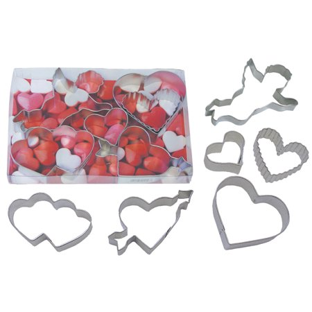 Valentine's Day Hearts and Cupid 6 Piece Cookie Cutter Set - 1964 - National Cake - Valentine Cookie