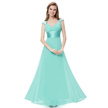 Ever Pretty Chiffon Sexy V-neck Ruched Empire Line Evening Dress 09672 Chiffon Empire Beaded Bodice Dress