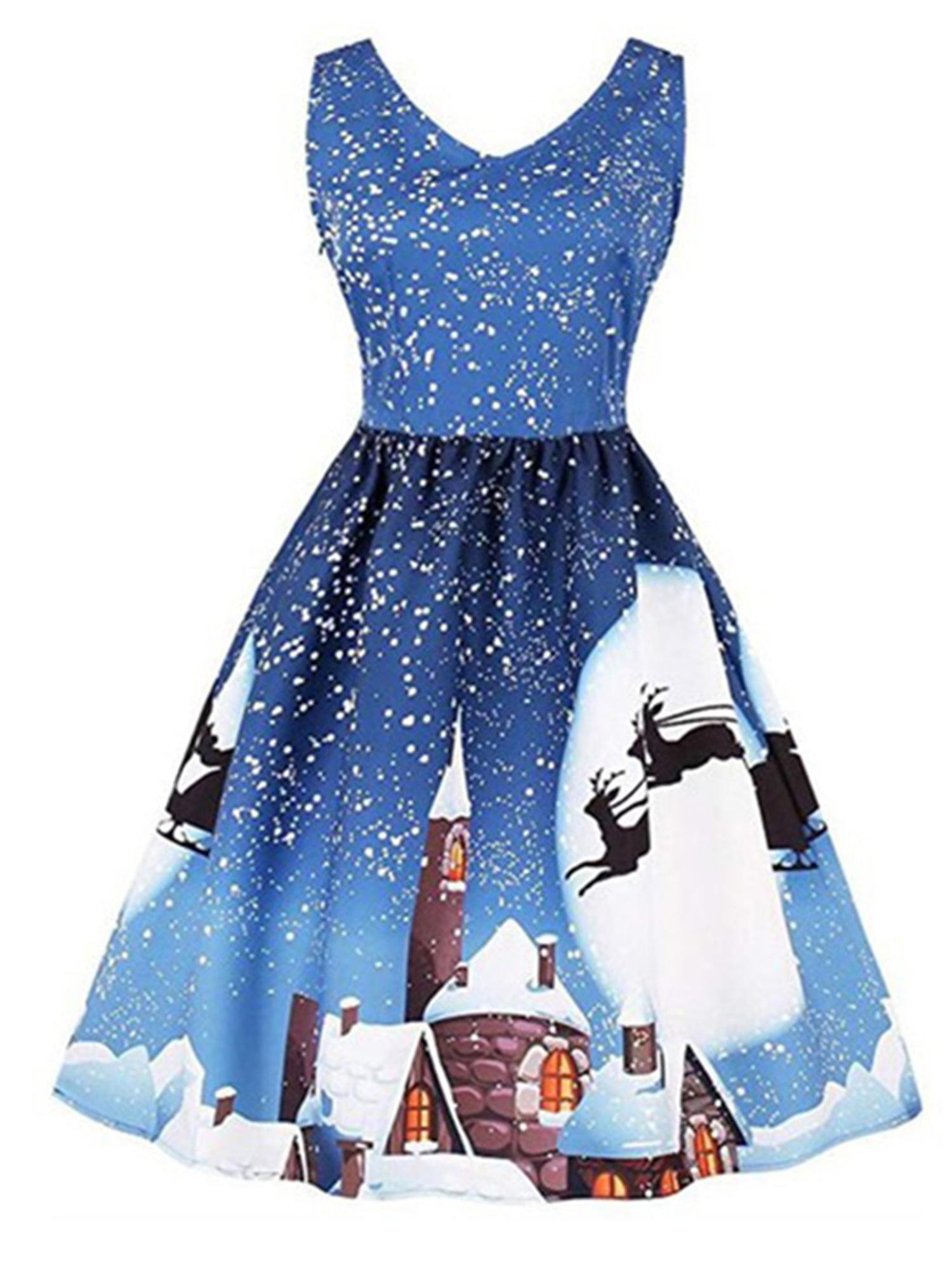 Womens Designer Vintage Party Christmas Dress Xmas Costume Skater Swing Dress UK