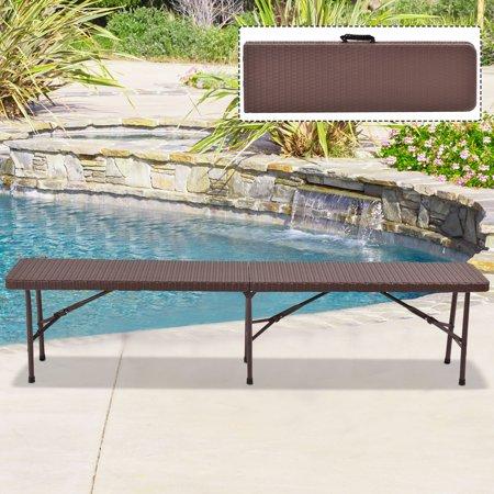 Costway 6 39 folding bench rattan portable indoor outdoor for Outdoor mobel rattan