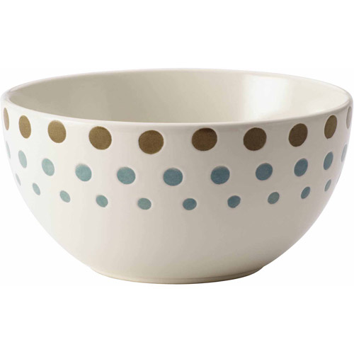 "Rachael Ray Cucina Circles and Dots Dinnerware 5-1/2"" Stoneware Cereal Bowl, Agave Blue and Mushroom Brown"