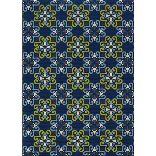 Style Haven Blue/ Blue Outdoor Area Rug (5'3 x 7'6)
