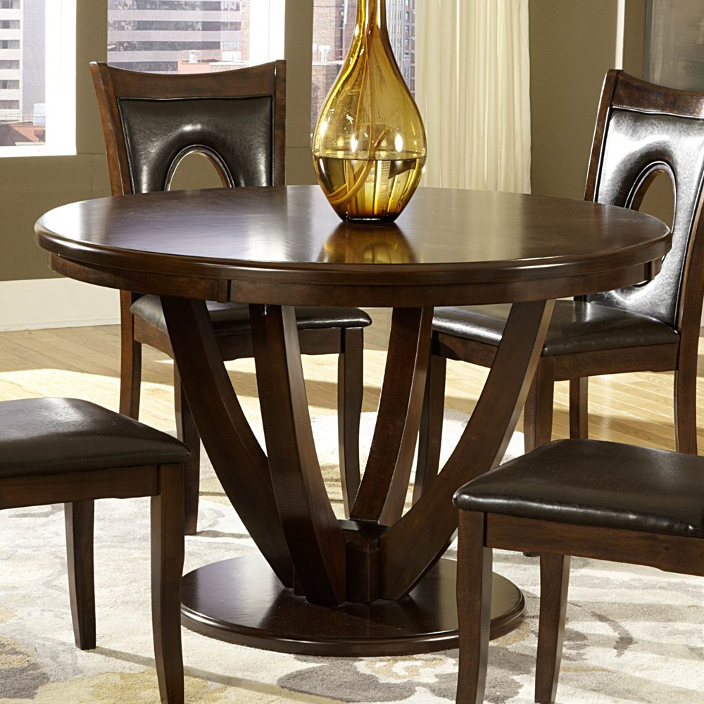 Homelegance VanBure Round Pedestal Dining Table in Rich Cherry
